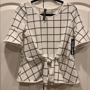 NWT Design Lab Black and White Peplum Top - M